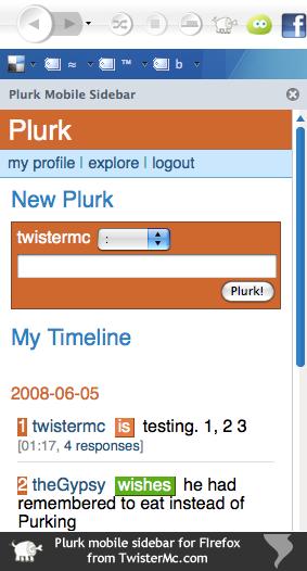 Plurk Firefox Sidebar