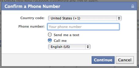 phone verification facebook